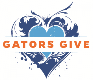 gators give logo featuring blue heart and orange gators give text across it