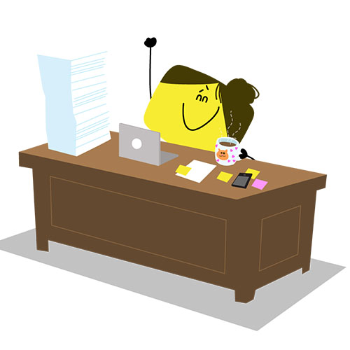 alex cartoon employee sitting at desk with laptop coffee mug and large stack of papers