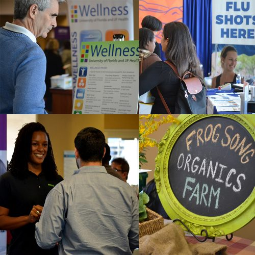 four images of attendees and vendors at 2017 benefits and wellness fair