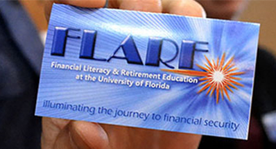 hand holding card that says flare