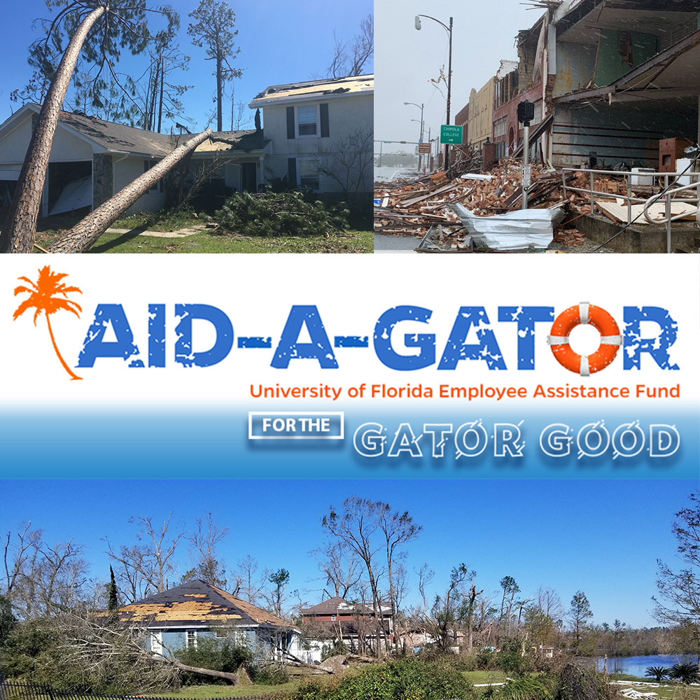 images of hurricane michael aftermath and aid-a-gator logo