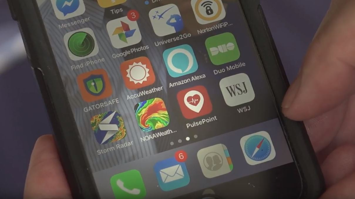 phone screen showing various apps including pulsepoint