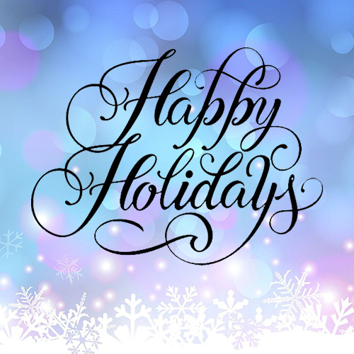 happy holidays text over blue and purple wintery background with sparkles and snowflakes