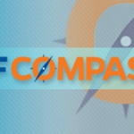 uf compass text in blue and orange over blue background