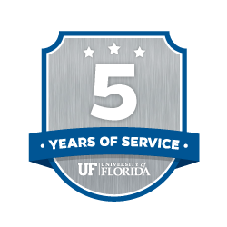 service recognition five-year badge gray and blue