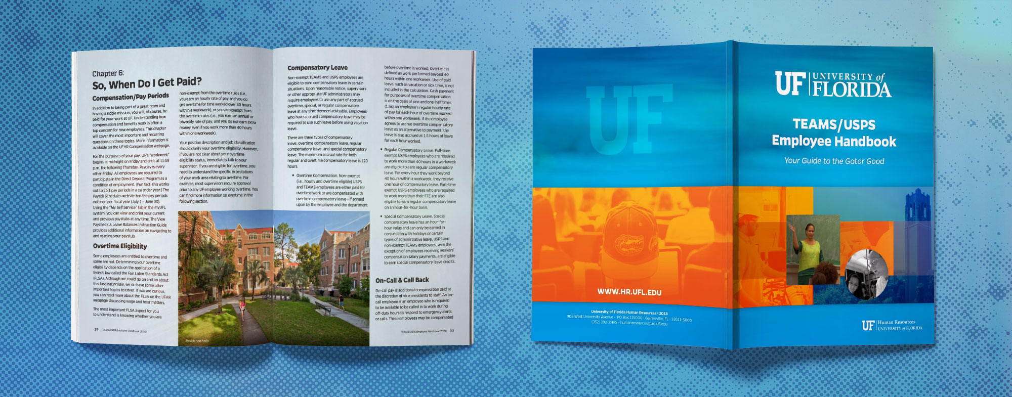 Image of the cover and internal pages of the employee handbook