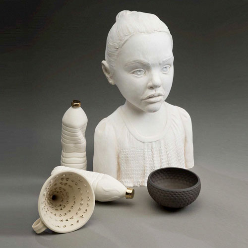 Image of College of the Arts faculty member Nan Smith's scuplture work featuring a bust, bowls and bottles made of ceramic