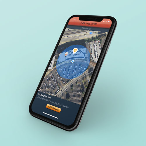 Image of the PulsePoint application on a smartphone in front of a blue backdrop