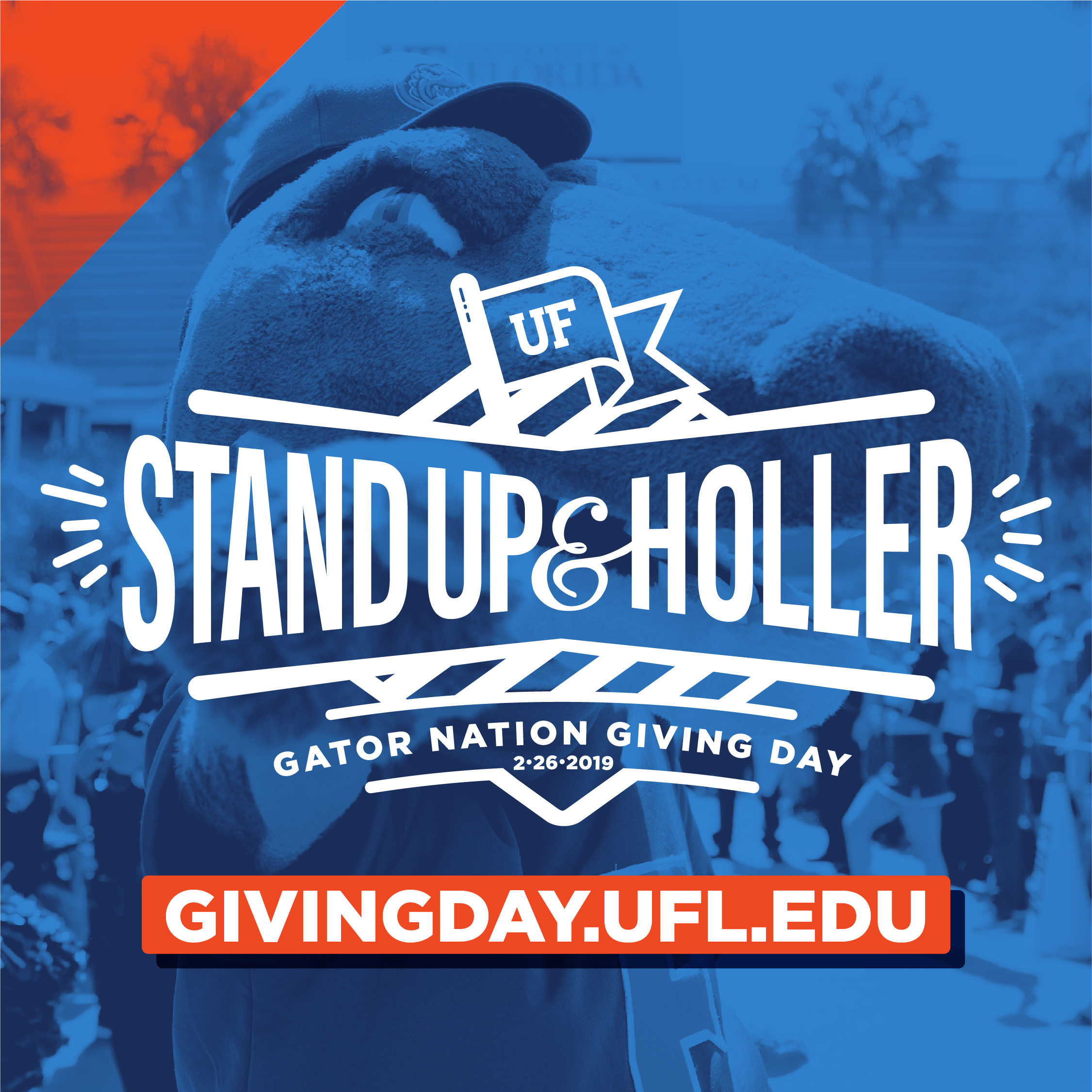 gator giving logo stand up and holler