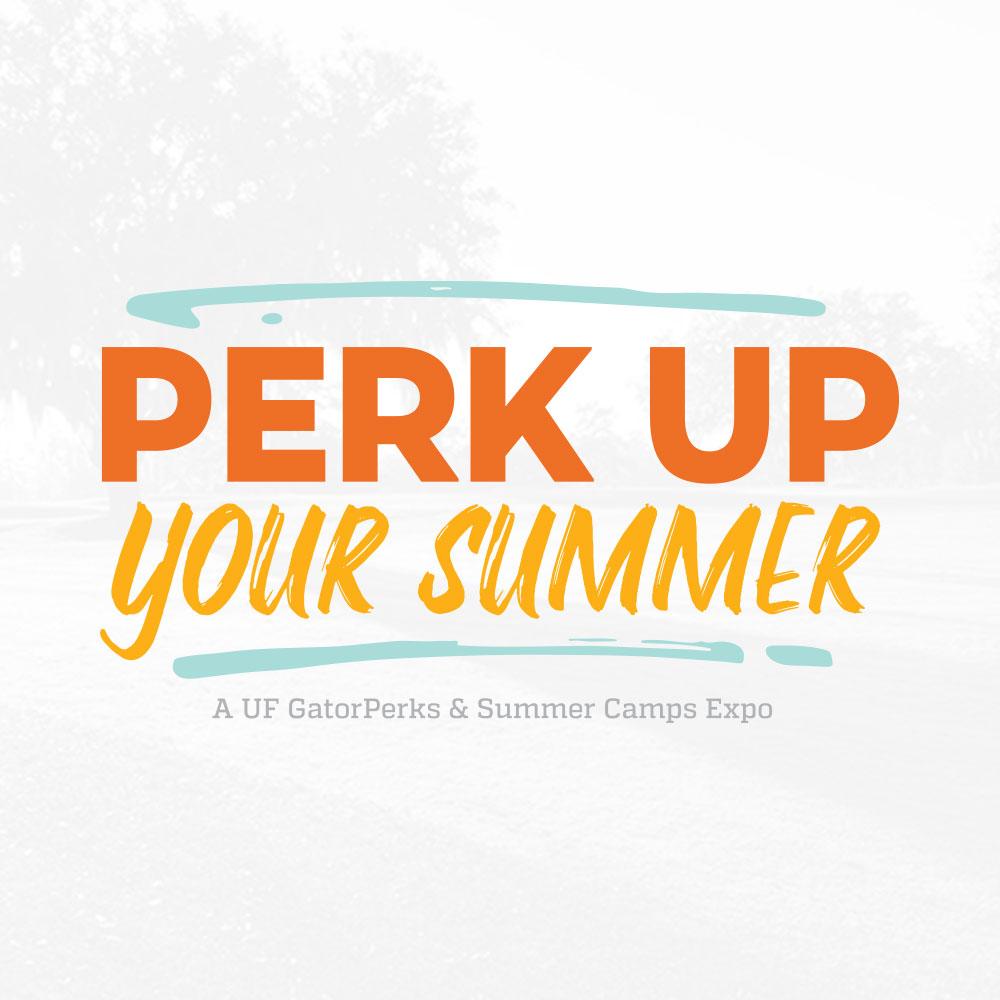 perk up your summer text logo