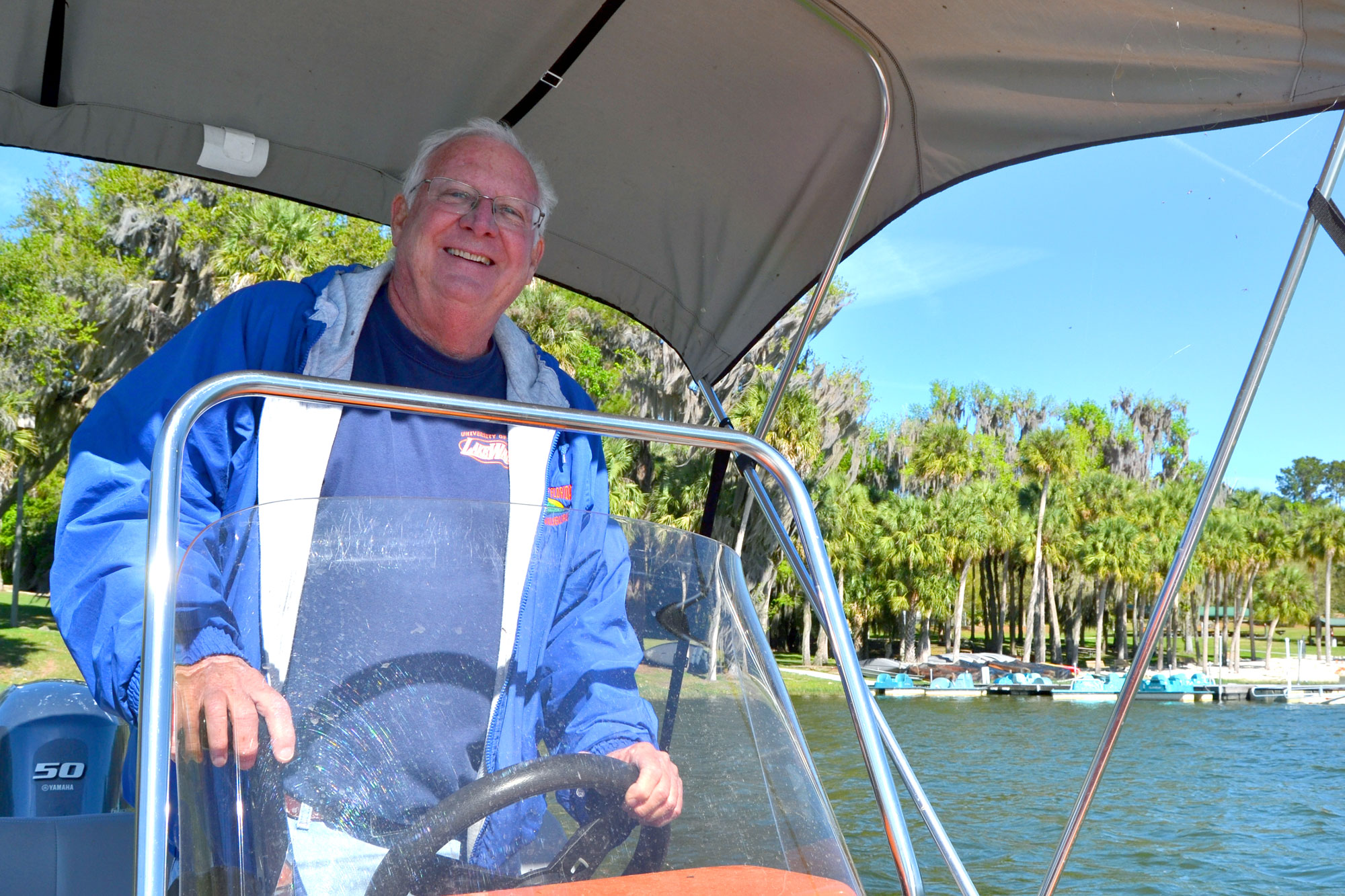 bill james on boat at lake wauburg