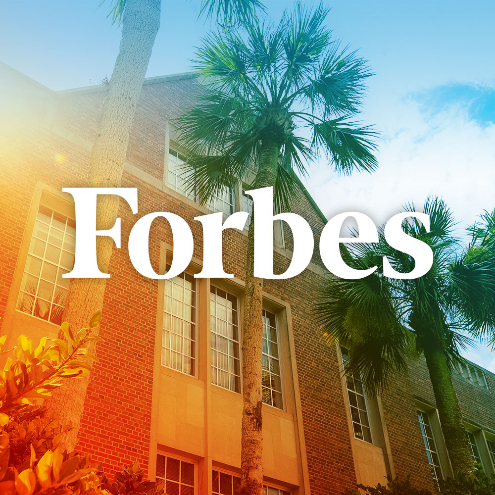 uf campus shot with forbes text logo overlaid