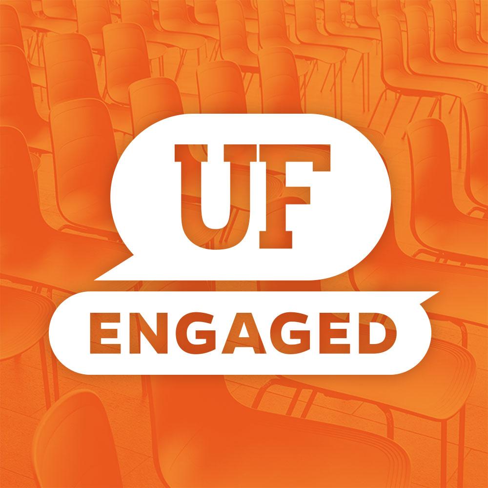 uf engaged logo over orange background with seats