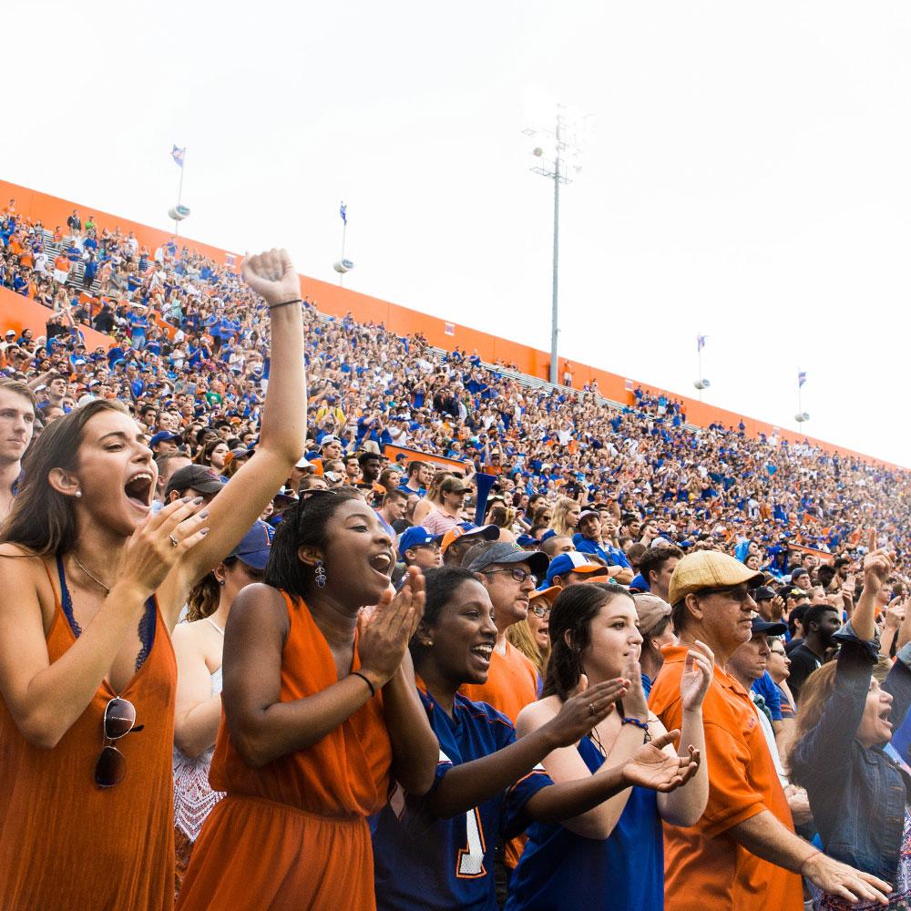 gator fans cheering at the stadium