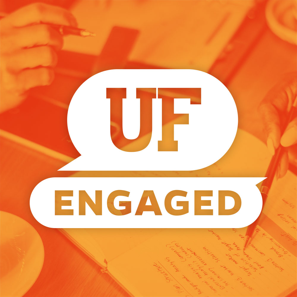 uf engaged logo white on orange