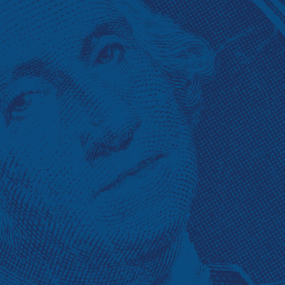 close up of dollar bill with blue background