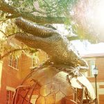 gator statue with filter