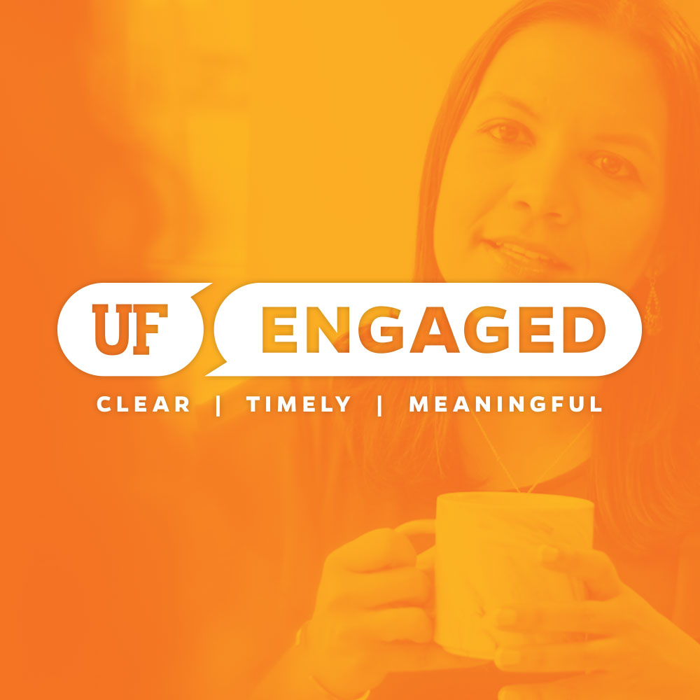 uf engaged logo and orange background with woman holding a mug