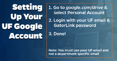 UF Google Account setup process