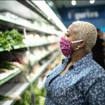 Woman shopping with mask