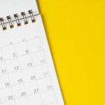 calendar on yellow background