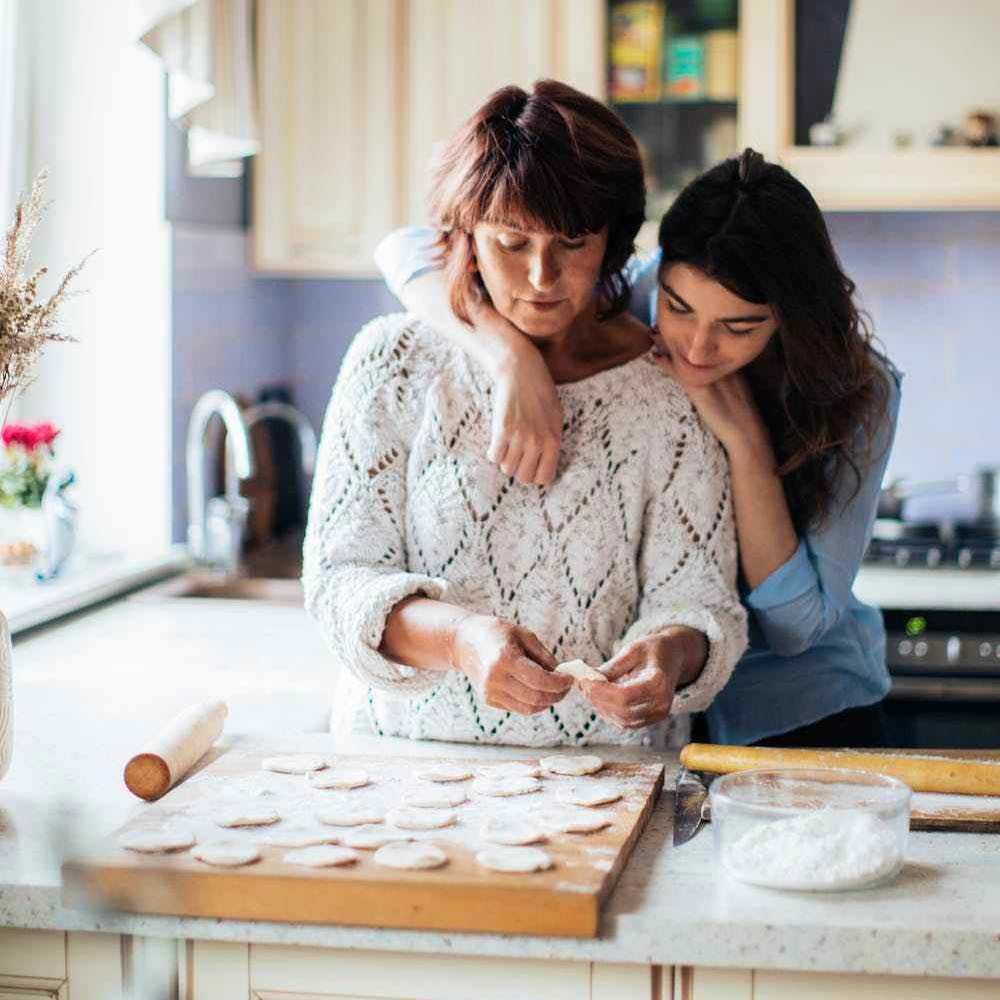 Woman and mother baking