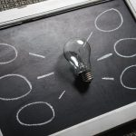 Lightbulb on chalkboard - ideas