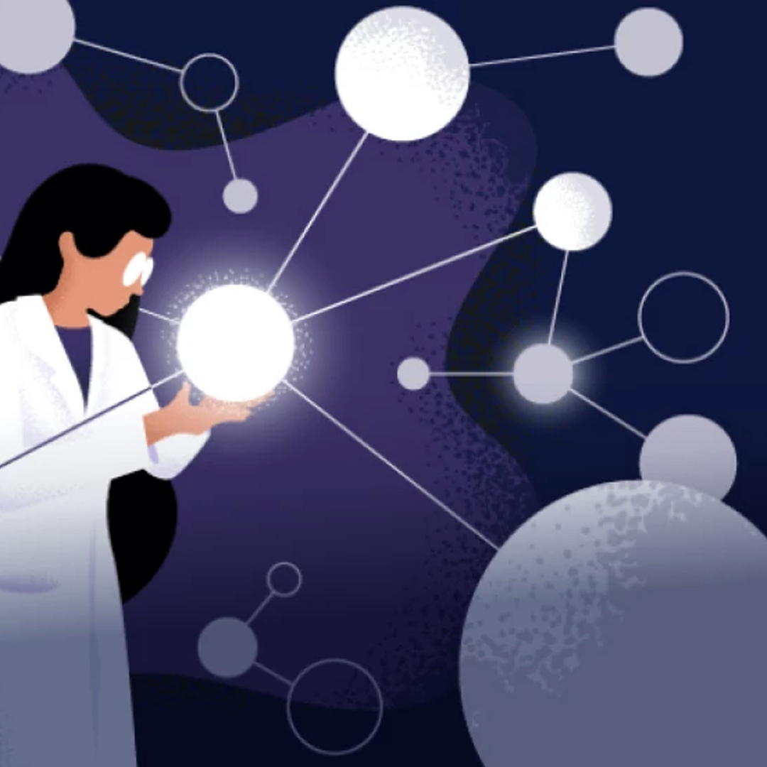 woman scientist drawing
